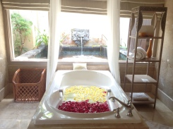 Bathtub with flower arrangement